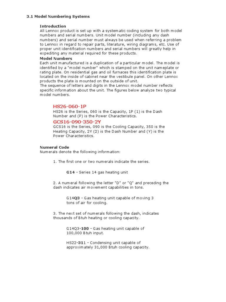 lennox serial number nomenclature air conditioning furnace rh scribd com Lennox Furnace Wiring Diagram Old Lennox Furnace Wiring Diagram