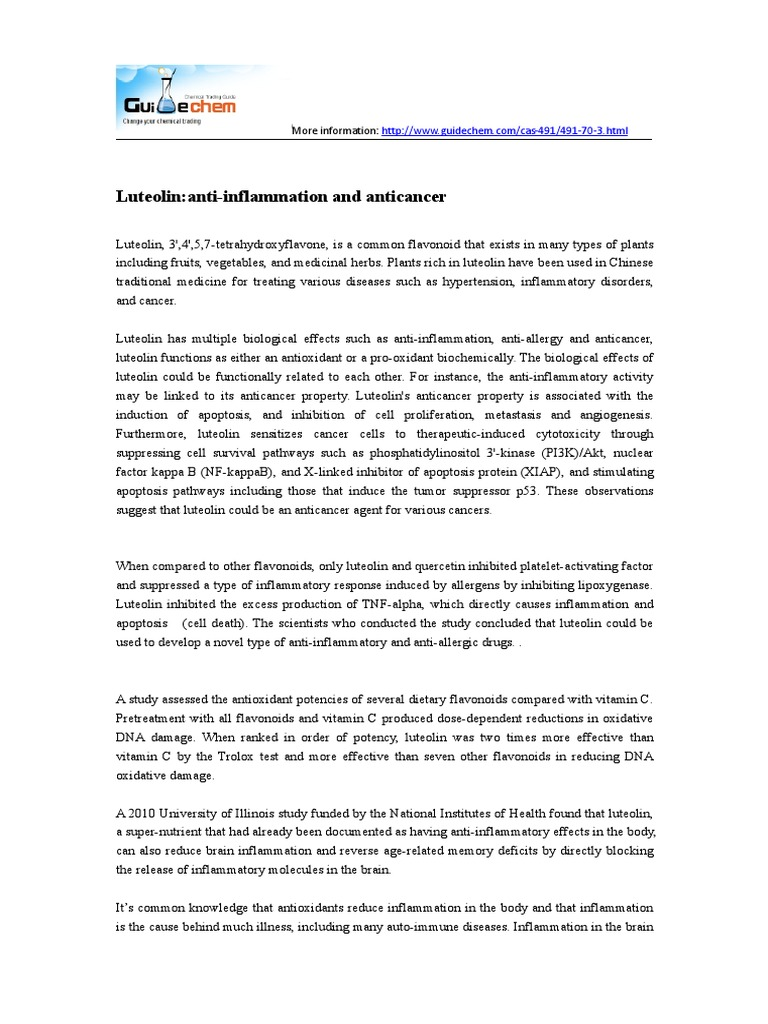 Luteolinanti-Inflammation and Anticancer | Inflammation