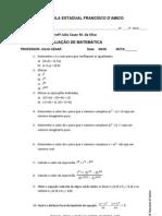 Avaliação de Matemática 3º A 3º Bimestre