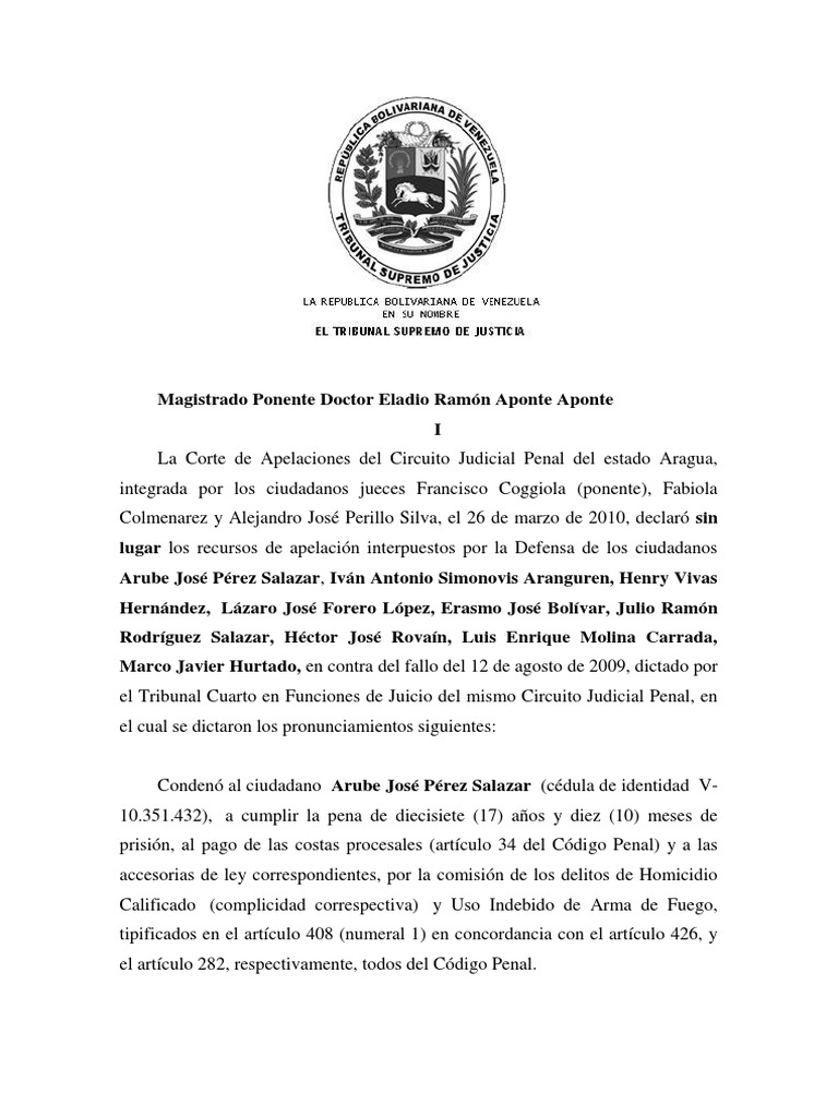a9d422037f Sentencia Simonovis   Hugo Chávez   Policía