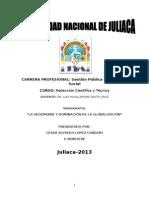 monografía hegemonía y dominación de la globalización CESAR ALFREDO LOPEZ CONDORI