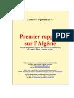 Tocqueville - Premier Rapport Sur l Algerie