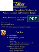 Long Standoff Demolition Warheads for Armor, Masonry and Concrete Targets