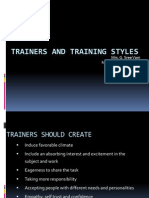 Trainers and Training Styles three dilemmas
