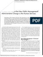 What's New About the New Public Management- Administrative Change in the Human Services