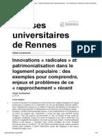 Habiter Le Patrimoine - Innovations