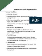 Checklist Pemeriksaan Fisik Appendicitis