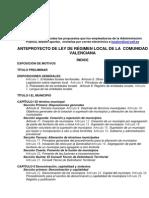 Anteproyecto Ley Regimen Local Com Valencian