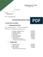 Cipres Congo 2013 Liste Hotels