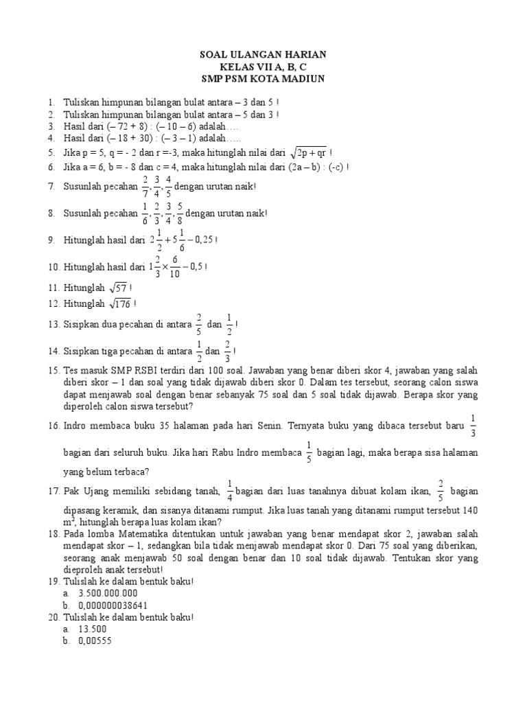 Soal Matematika Bilangan Bulat Kelas 7 Kunci Dunia