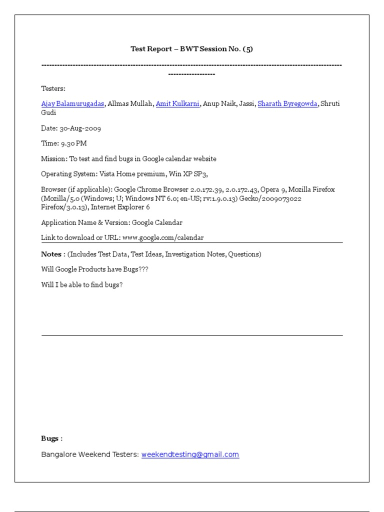 List of Issues_Google Calendar | Software Testing | Operating System