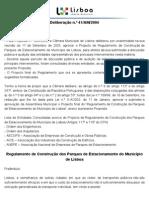 Regulamento de Construção dos Parques de Estacionamento do Município de Lisboa