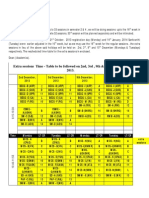 Extra Sessions Timetable