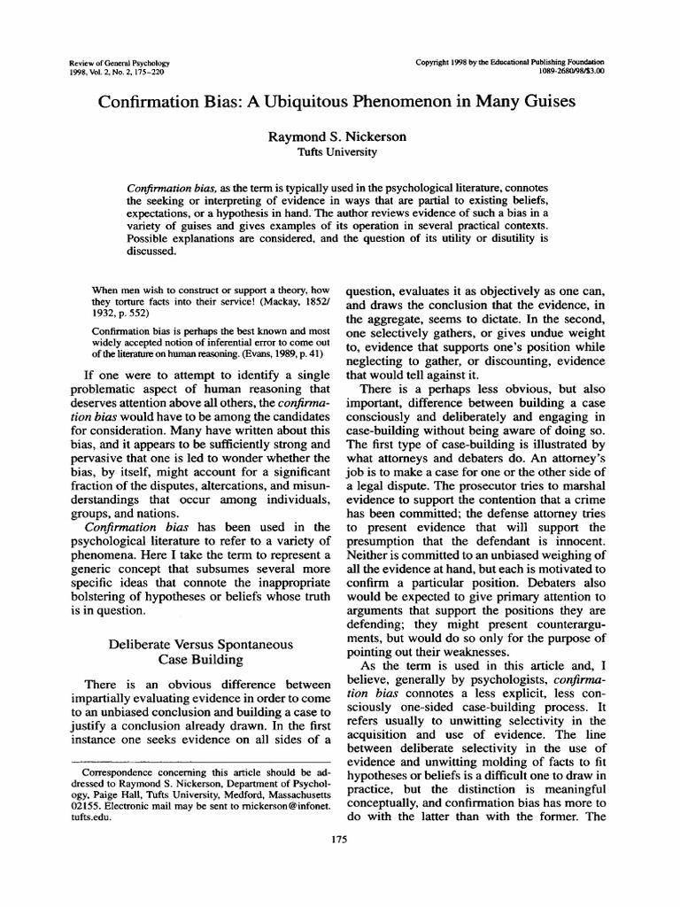 Nickerson Confirmation Bias Bias Hypothesis