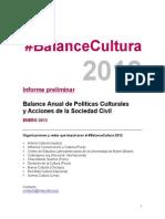#BalanceCultura 2012 - Informe Preliminar