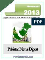 Pakistan News Digest November - 2013