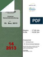 Aus den Eslarner Gemeinderatssitzungen - Mitschrift vom 19.12.2013