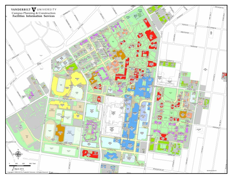 map of vanderbilt campus Vanderbilt Color Campus Map Sex Segregation Fraternities And map of vanderbilt campus