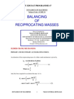 Balancing of Reciprocating Masses - Notes