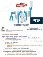 Valuation of Equity - Teaching Note