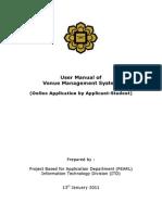 User Manual Venue Management System Applicant Student IIUM