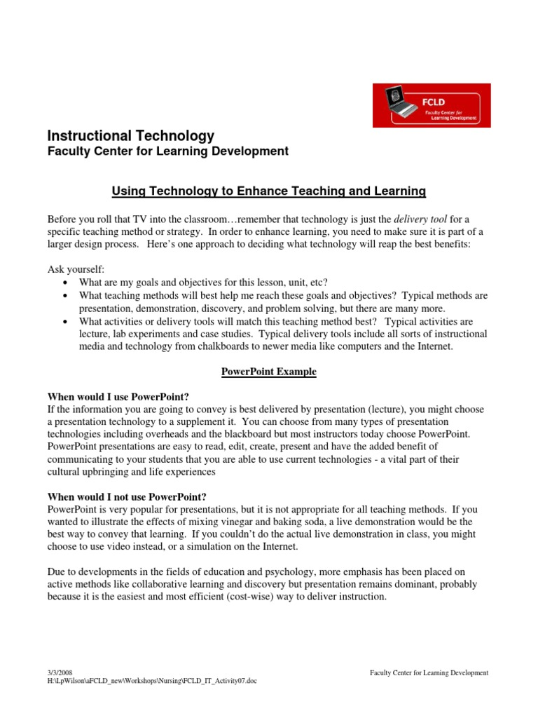 instructional technology teaching method educational technology