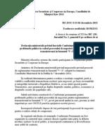 Declaratia Osce KIEV privind Reglementarea transnistreana 6 Decembrie 2013