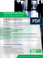 ISO 20121 Lead Implementer - One Page Brochure