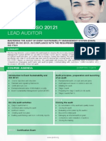 ISO 20121 Lead Auditor - Four Page Brochure