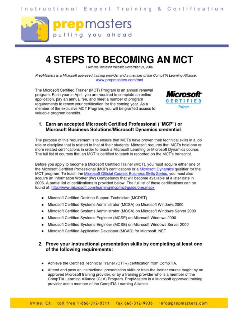 How To Become Mct Professional Certification Comp Tia