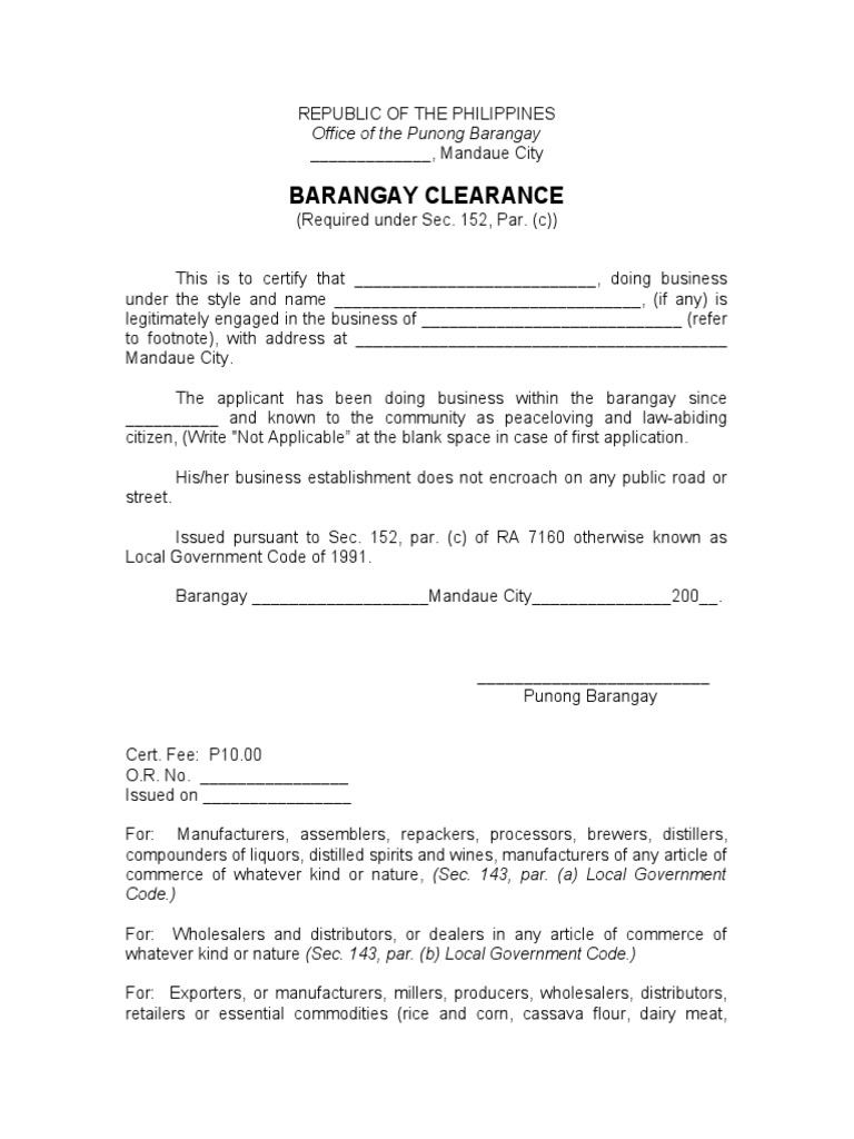 Barangay Clearance Form Doc