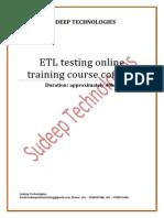 ETL Testing Syllabus