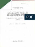 Eco Seis Paseos Por Los Bosques Narrativos Umberto Eco