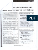 Estimate Costs of Distillation and Absorption Towers via Correlations
