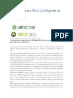 Los juegos para Xbox que llegarán en 2014