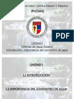 Unidad 1 Introducción. Importancia del suministro de agua