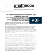 UW Cinematheque Spring 2014 Screening Calendar