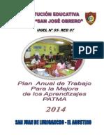 Plan de Trabajo Para La Mejora de Los Aprend. 2014- II.ee.162 San Jose Obrero