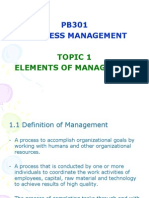 TOPIC 1 Element of Management