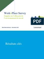 Work + Place Survey – Enquête sur l'efficacité de l'environnement de travail