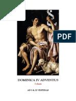 I y II Vísperas del IV domingo de adviento. Forma Extraordinaria del Rito Romano