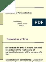 Dissolution of Partnership Deepak Kumar