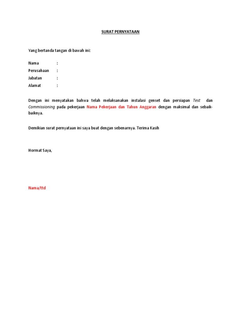Contoh Surat Pernyataan Telah Melaksanakan Pekerjaan