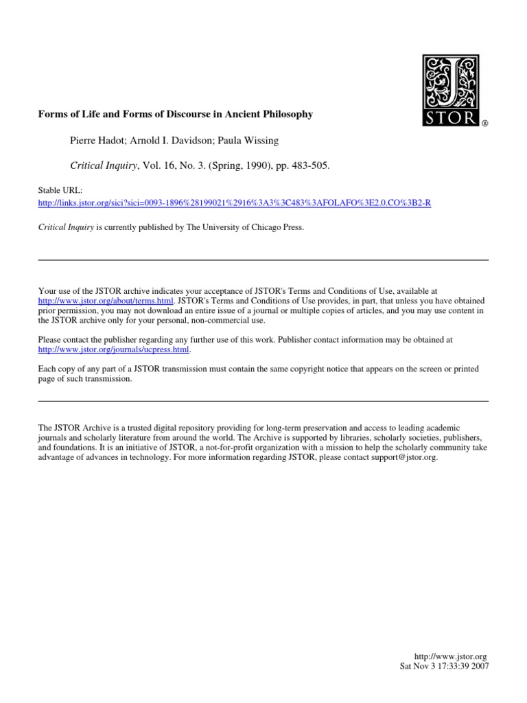 Hadot forms of life and forms of discourse in ancient philosophy 1990 stoicism religion and belief