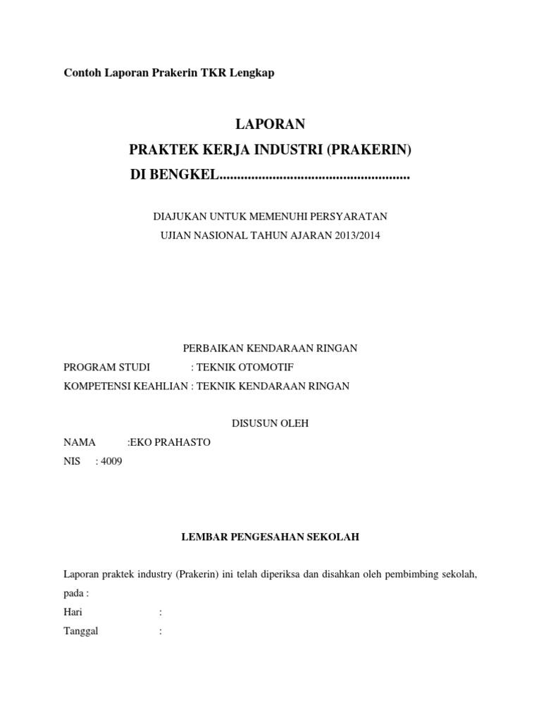 Contoh Laporan Prakerin Tkr Lengkap Docx