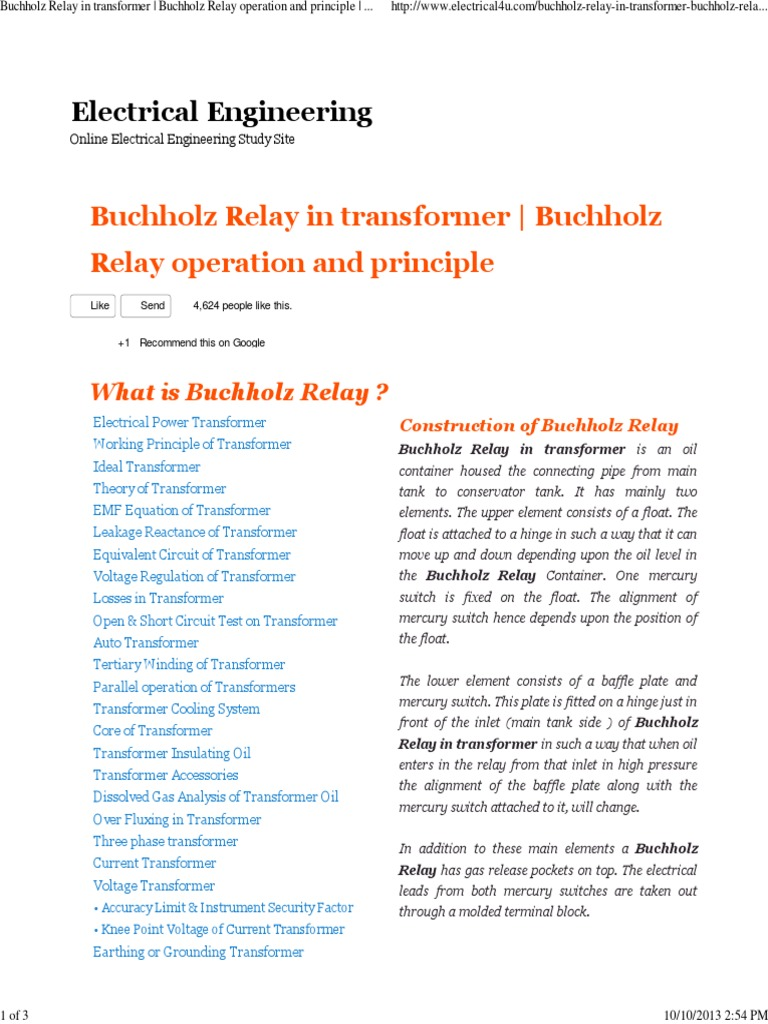 Buchholz Relay in Transformer Buchholz Relay Operation and