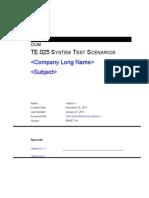 Te-025 System Test Scenarios
