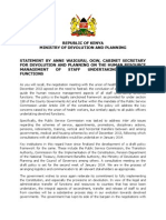 STATEMENT BY ANNE WAIGURU, OGW, CABINET SECRETARY FOR DEVOLUTION AND PLANNING ON THE HUMAN RESOURCE MANAGEMENT OF STAFF UNDERTAKING DEVOLVED FUNCTIONS