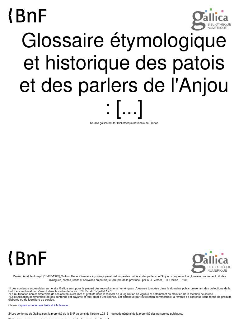 Patois L Parlers Glossaire Étymologique Historique Des De Et gYf7yvb6
