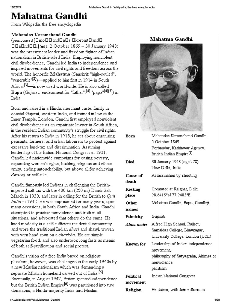 Gandhi Jayanti Speech Essay In English